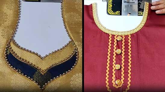 Kurti Neck Design with Lace