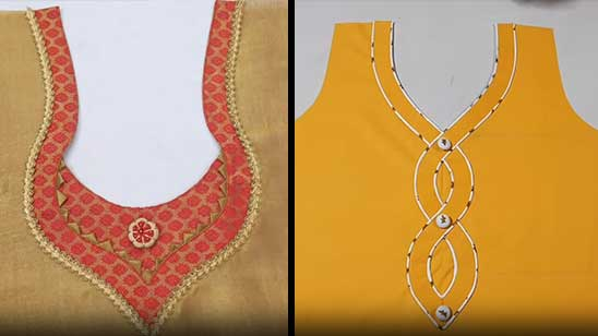 Neck Design for Kurti with Lace
