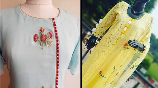Neck Embroidery Design of Kurti