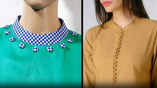 Stand Collar Kurti Design