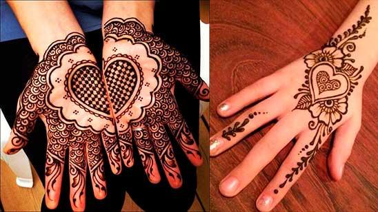 Simple Heart Mehndi Designs