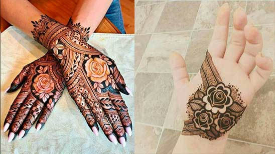 Simple Mehndi Design of Rose