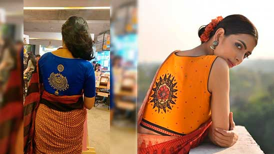 Back Design of Blouse with Patch Work