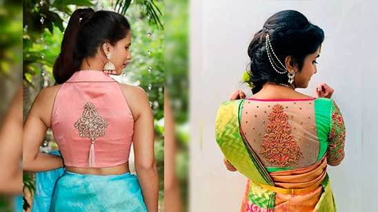 Back Neck Design of Embroidery Blouse