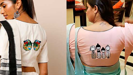 Blouse Back Designs with Patch Work