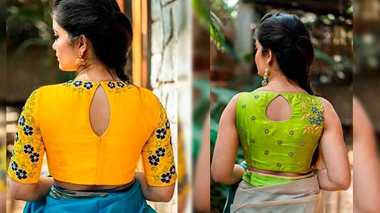 Hand Embroidery Design for Blouse Back Neck