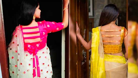 Kathpadar Blouse Back Side Design