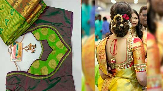 Paithani Blouse Back Neck Designs