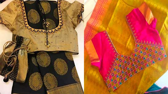 Paithani Blouse Design Patterns Back Neck