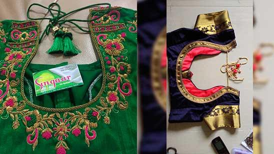 Paithani Blouse Designs Back Side