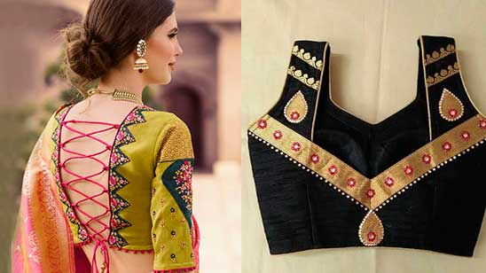 Silk Blouse Back Neck Designs with Borders