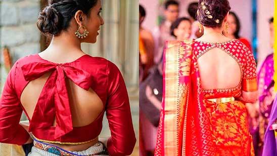 Silk Saree Blouse Back Neck Design