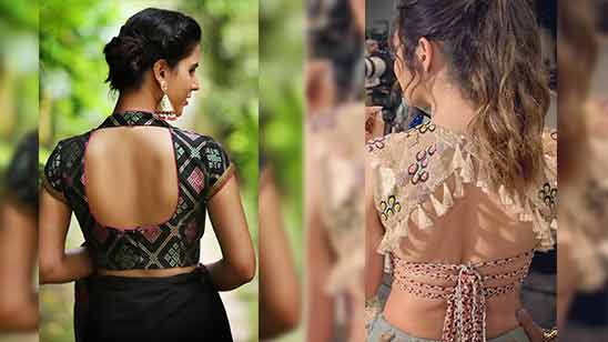 Simple Blouse Back Neck Designs with Borders