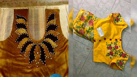 Simple Hand Embroidery Designs for Blouse Back Neck