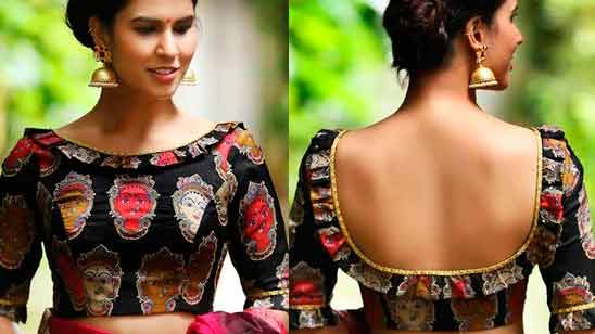 Back Side Boat Neck Blouse Design
