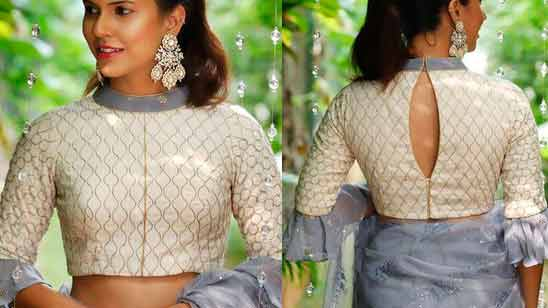 Blouse Boat Neck Design Front and Back