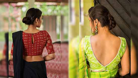 Blouse Boat Neck Saree Design Image