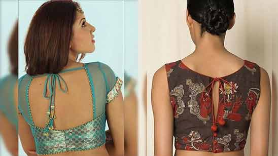 Boat Neck Blouse Design for Saree Image