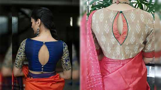 Boat Neck Blouse Design of Saree Image