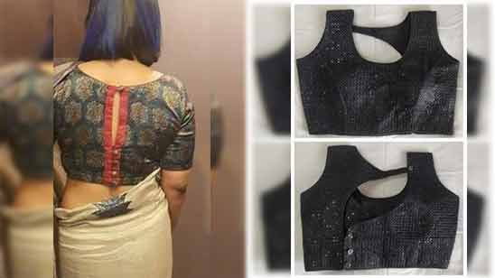 Boat Neck Saree Blouse Design Image