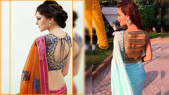 Border Saree Back Neck Design