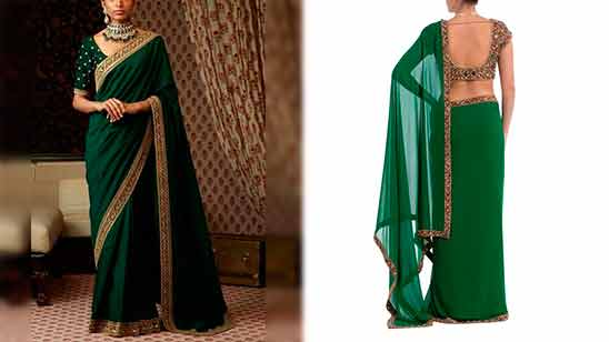 Border Saree Blouse Neck Design