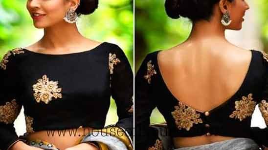 Front Boat Neck Blouse Design