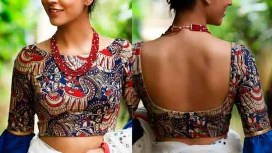 Front and Back Blouse Boat Neck Design