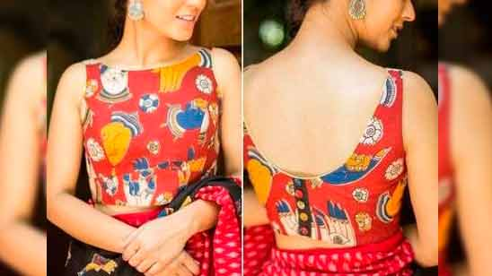 Front and Back Boat Neck Blouse Design