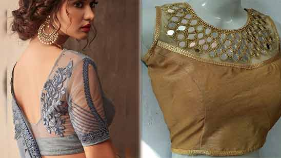 Net Blouse Boat Neck Design Image
