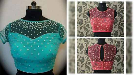 Net Boat Neck Blouse Design 2020 Latest Image