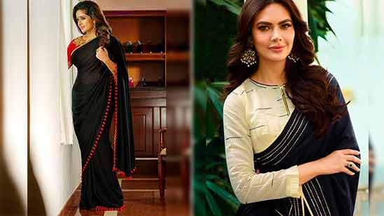 Plain Saree with Border and Designer Blouse