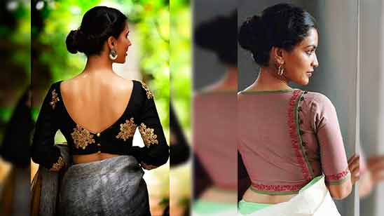 Silk Saree Blouse Neck Design with Border