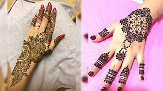 Simple Arabic Mehendi Design for Left Hand Back Side