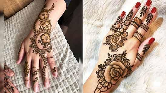 Simple Arabic Mehendi Design for Left Hand Palm