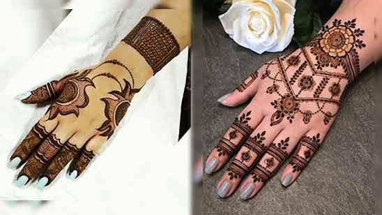 Simple Arabic Mehndi Design for Left Hand Back Side
