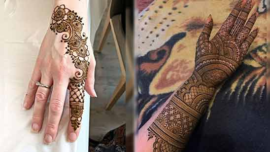 Simple Arabic Mehndi Design for Left Hand Palm