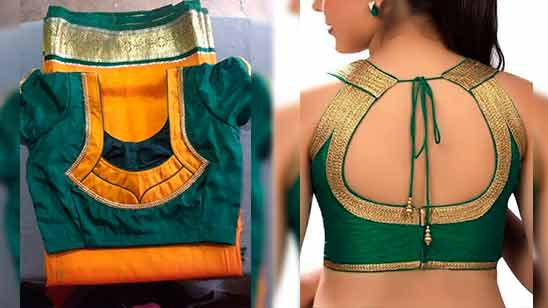 Simple Blouse Neck Design with Border