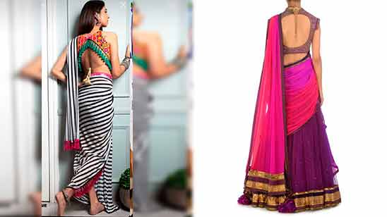 Border Saree Back Neck Designs