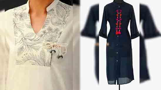 Chinese Collar Design For Kurti
