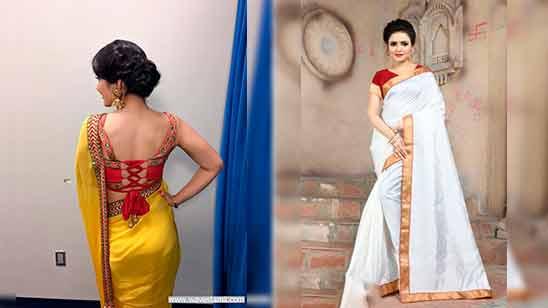 Pattu Blouse Back Neck Designs With Border