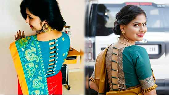 Pattu Blouse Back Neck Designs With Borders