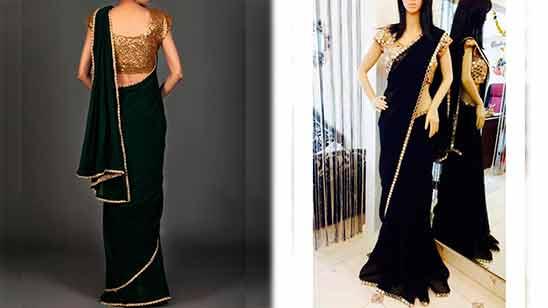 Plain Saree With Border And Designer Blouse
