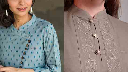 Stand Collar Neck Designs for Kurtis