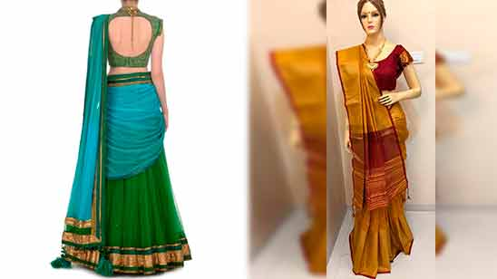 Traditional Silk Saree Blouse Back Neck Designs With Borders