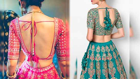 Latest Blouse Back Neck Designs with Borders