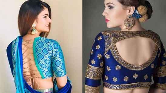 Simple Silk Saree Blouse Designs Back Neck