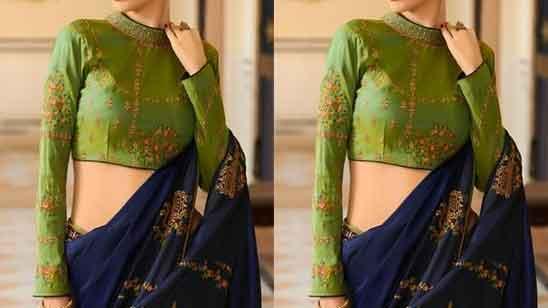 Full Sleeve Net Blouse Design
