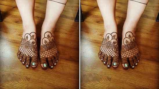 Mehndi Design Leg Finger
