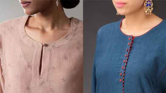 Piping Churidar Neck Designs